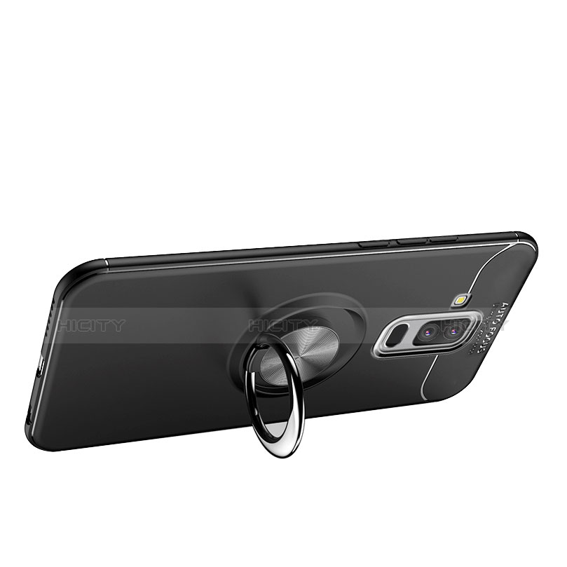Silikon Hülle Handyhülle Ultra Dünn Schutzhülle Silikon mit Magnetisch Fingerring Ständer A03 für Samsung Galaxy A9 Star Lite Schwarz groß