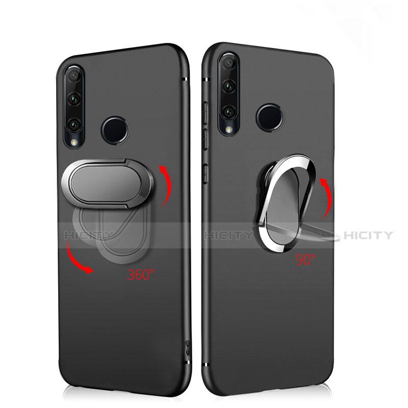 Silikon Hülle Handyhülle Ultra Dünn Schutzhülle Silikon mit Magnetisch Fingerring Ständer für Huawei Honor 20 Lite Schwarz Plus
