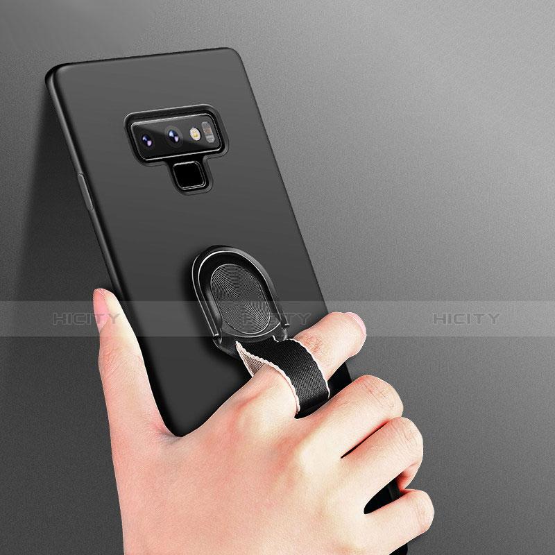 Silikon Hülle Handyhülle Ultra Dünn Schutzhülle Silikon mit Magnetisch Fingerring Ständer für Samsung Galaxy Note 9 Schwarz groß