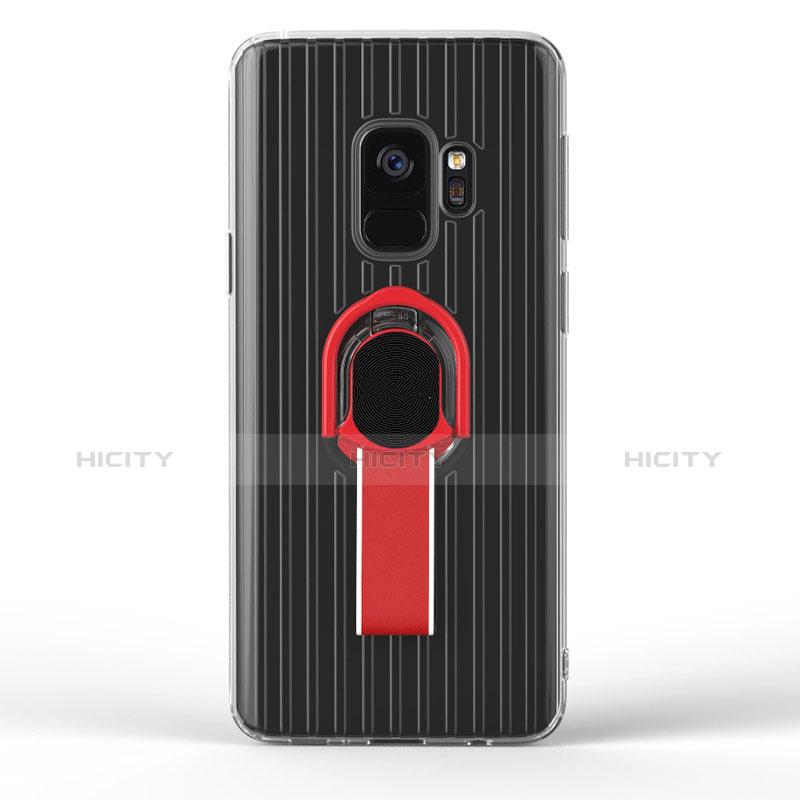 Silikon Hülle Handyhülle Ultra Dünn Schutzhülle Silikon mit Magnetisch Fingerring Ständer für Samsung Galaxy S9 Schwarz groß