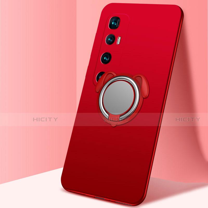 Silikon Hülle Handyhülle Ultra Dünn Schutzhülle Tasche Flexible mit Magnetisch Fingerring Ständer A01 für Xiaomi Mi 10 Ultra Rot Plus