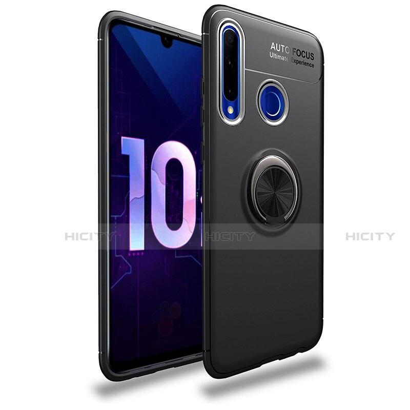 Silikon Hülle Handyhülle Ultra Dünn Schutzhülle Tasche Silikon mit Magnetisch Fingerring Ständer A01 für Huawei Honor 20 Lite Schwarz Plus
