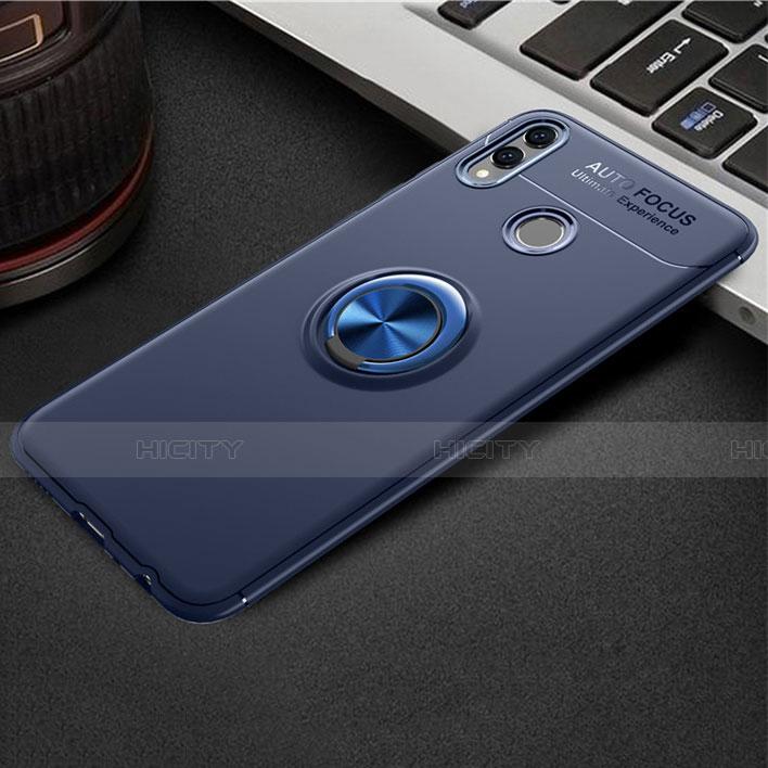 Silikon Hülle Handyhülle Ultra Dünn Schutzhülle Tasche Silikon mit Magnetisch Fingerring Ständer A01 für Huawei Honor 8X Blau Plus