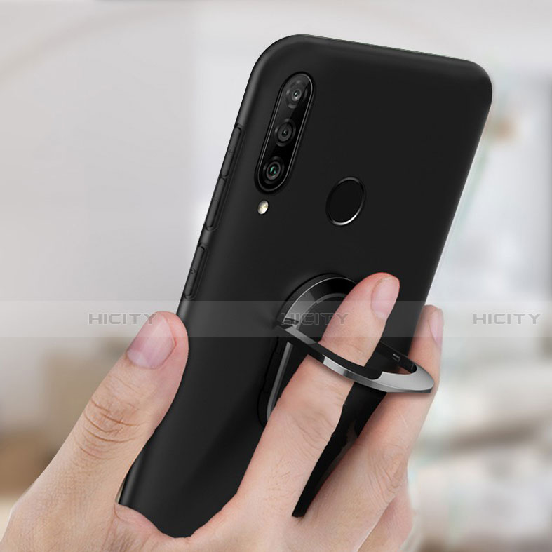 Silikon Hülle Handyhülle Ultra Dünn Schutzhülle Tasche Silikon mit Magnetisch Fingerring Ständer für Huawei Honor 20 Lite groß