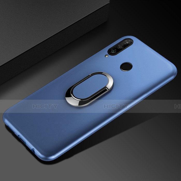 Silikon Hülle Handyhülle Ultra Dünn Schutzhülle Tasche Silikon mit Magnetisch Fingerring Ständer für Huawei Honor 20 Lite Blau Plus