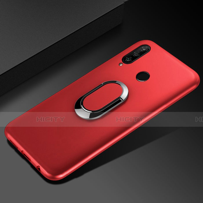 Silikon Hülle Handyhülle Ultra Dünn Schutzhülle Tasche Silikon mit Magnetisch Fingerring Ständer für Huawei Honor 20 Lite Rot Plus