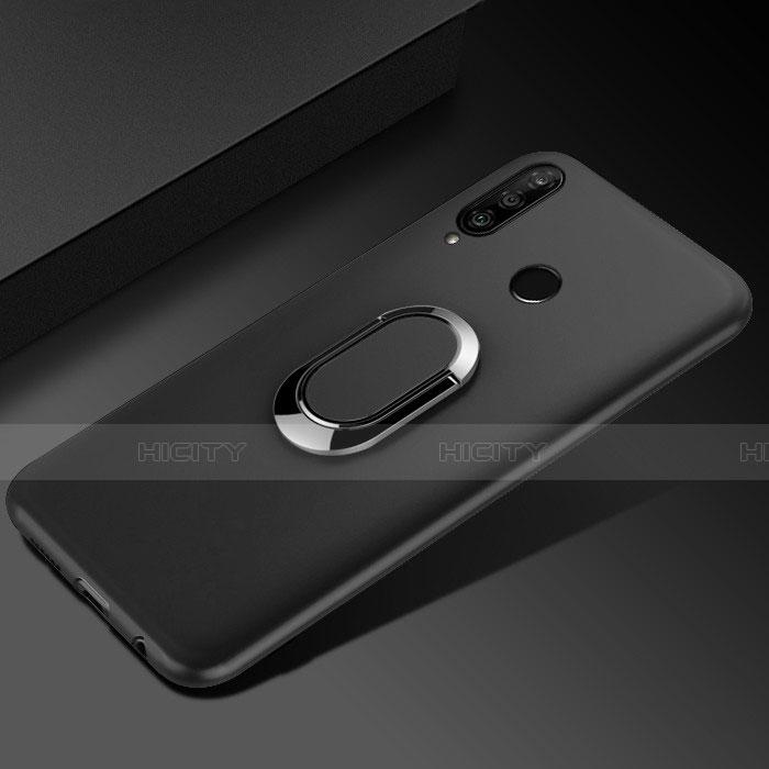 Silikon Hülle Handyhülle Ultra Dünn Schutzhülle Tasche Silikon mit Magnetisch Fingerring Ständer für Huawei Honor 20 Lite Schwarz