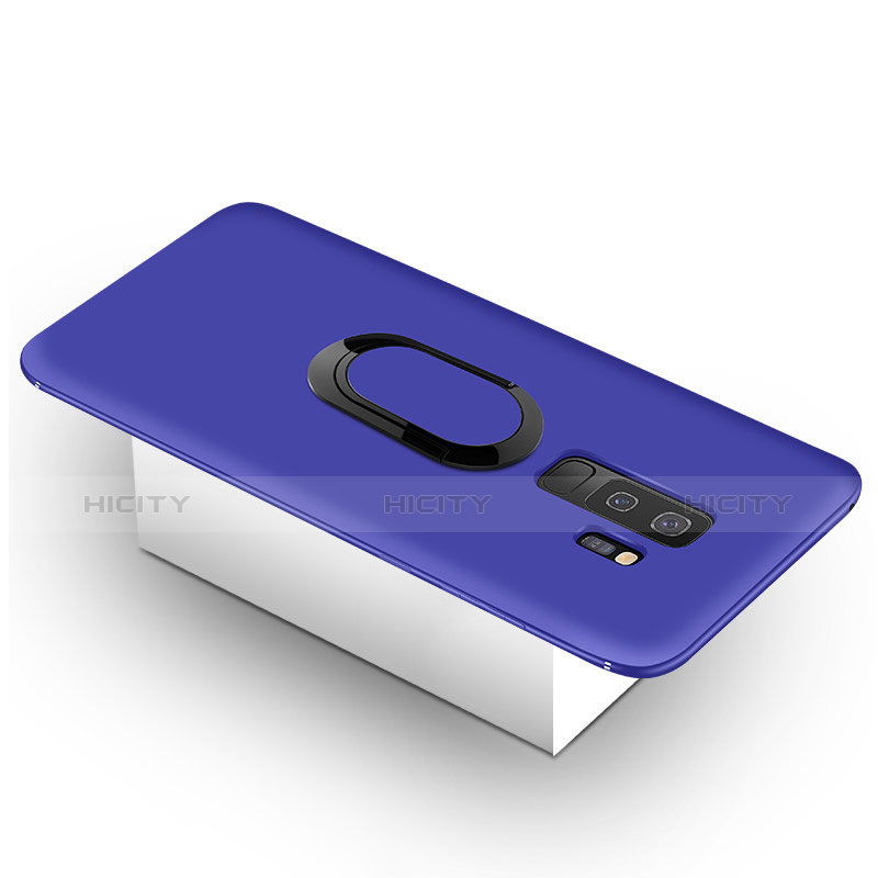 Silikon Hülle Handyhülle Ultra Dünn Schutzhülle Tasche Silikon mit Magnetisch Fingerring Ständer für Samsung Galaxy S9 Plus Blau Plus