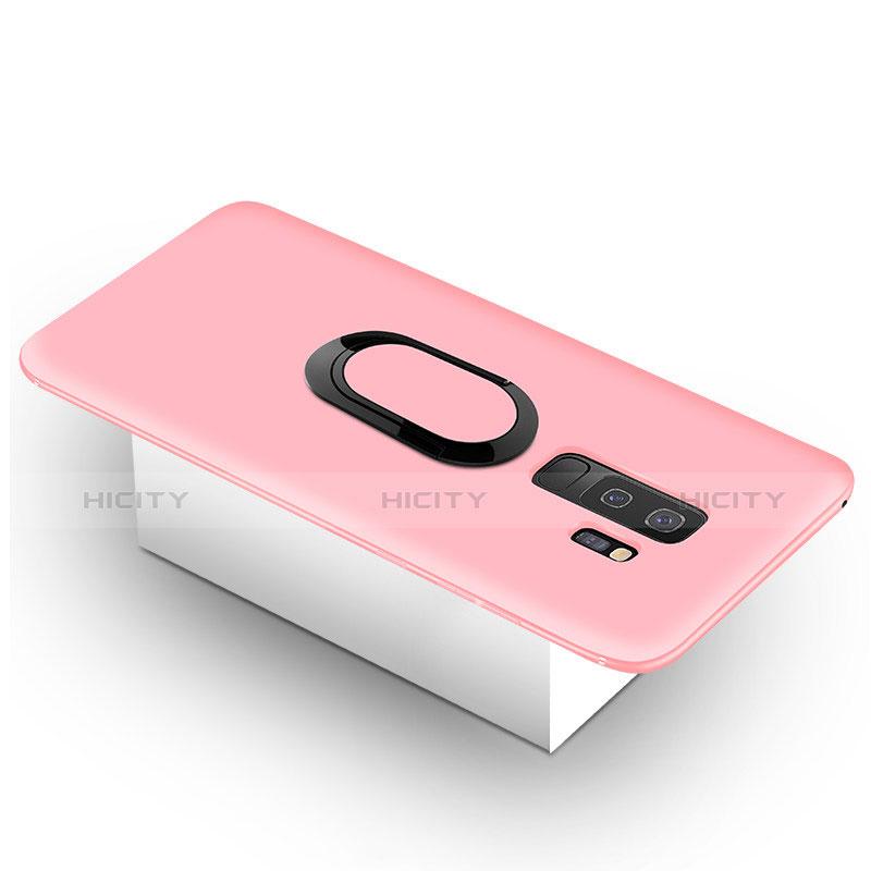 Silikon Hülle Handyhülle Ultra Dünn Schutzhülle Tasche Silikon mit Magnetisch Fingerring Ständer für Samsung Galaxy S9 Plus Rosa Plus