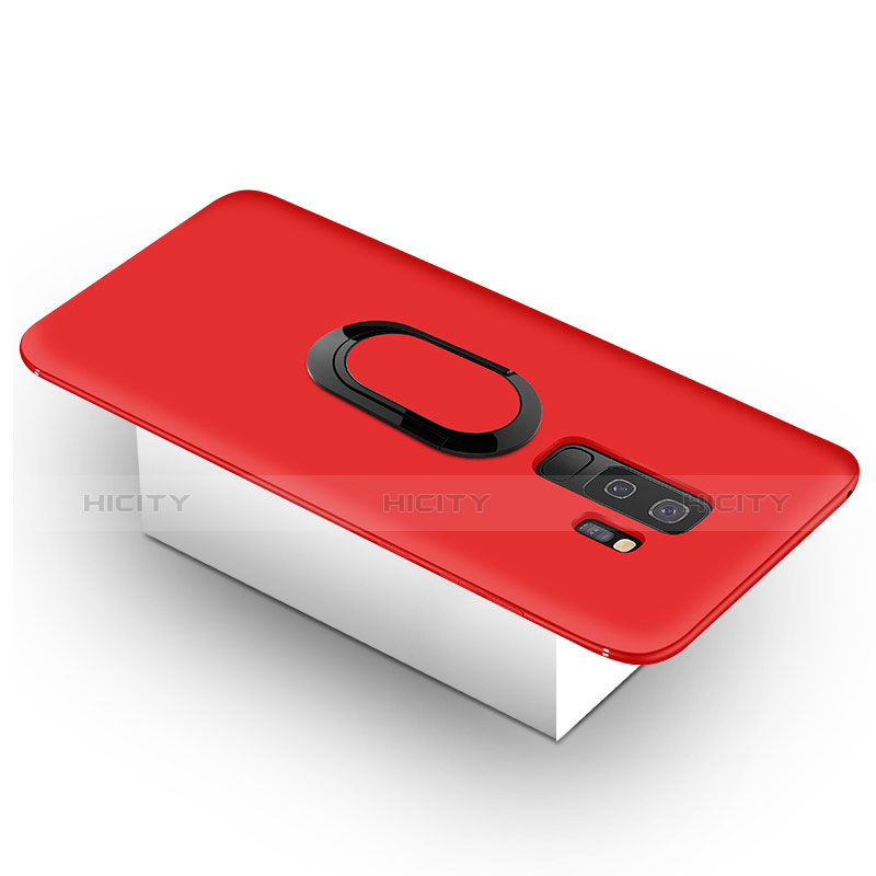 Silikon Hülle Handyhülle Ultra Dünn Schutzhülle Tasche Silikon mit Magnetisch Fingerring Ständer für Samsung Galaxy S9 Plus Rot Plus