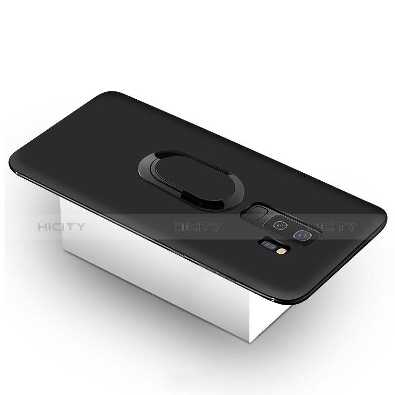 Silikon Hülle Handyhülle Ultra Dünn Schutzhülle Tasche Silikon mit Magnetisch Fingerring Ständer für Samsung Galaxy S9 Plus Schwarz Plus