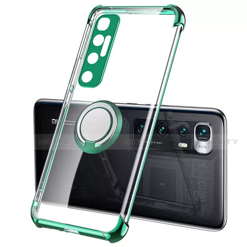 Silikon Hülle Handyhülle Ultradünn Schutzhülle Flexible Tasche Durchsichtig Transparent mit Magnetisch Fingerring Ständer S01 für Xiaomi Mi 10 Ultra Grün Plus