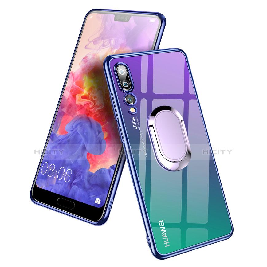 Silikon Hülle Handyhülle Ultradünn Tasche Durchsichtig Transparent mit Fingerring Ständer für Huawei P20 Pro Blau Plus