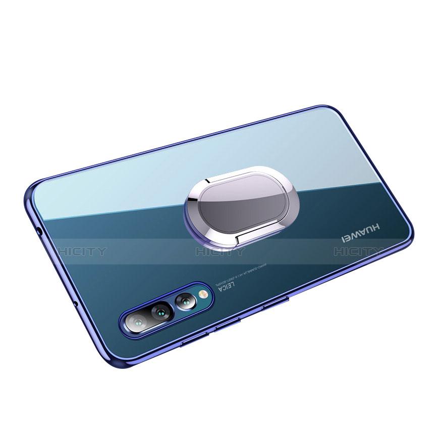 Silikon Hülle Handyhülle Ultradünn Tasche Durchsichtig Transparent mit Fingerring Ständer für Huawei P20 Pro Blau groß