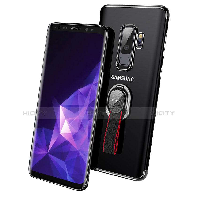 Silikon Hülle Handyhülle Ultradünn Tasche Durchsichtig Transparent mit Fingerring Ständer für Samsung Galaxy S9 Plus Schwarz Plus
