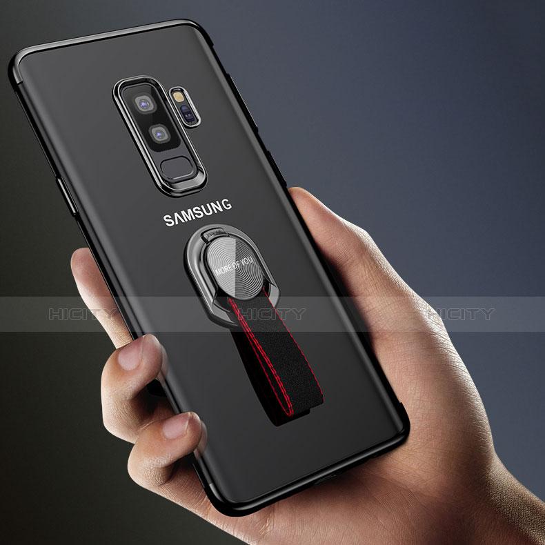 Silikon Hülle Handyhülle Ultradünn Tasche Durchsichtig Transparent mit Fingerring Ständer für Samsung Galaxy S9 Plus Schwarz groß