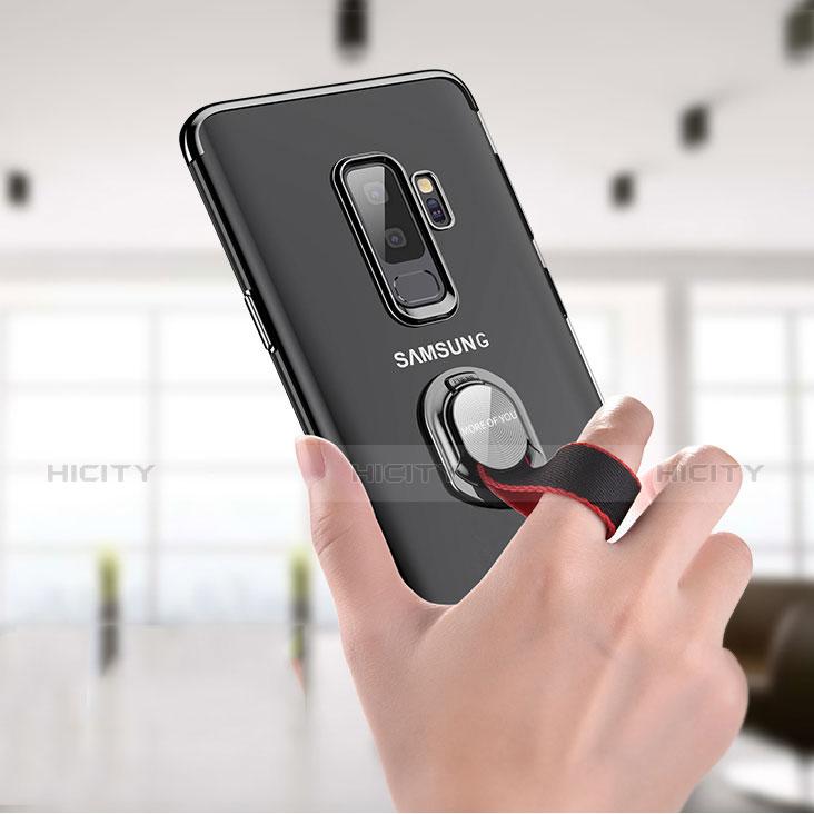 Silikon Hülle Handyhülle Ultradünn Tasche Durchsichtig Transparent mit Fingerring Ständer T01 für Samsung Galaxy S9 Plus Klar Plus
