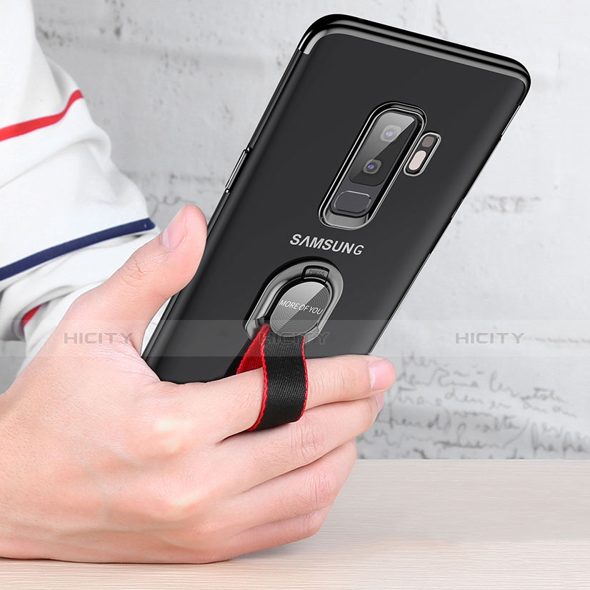 Silikon Hülle Handyhülle Ultradünn Tasche Durchsichtig Transparent mit Fingerring Ständer T01 für Samsung Galaxy S9 Plus Klar groß
