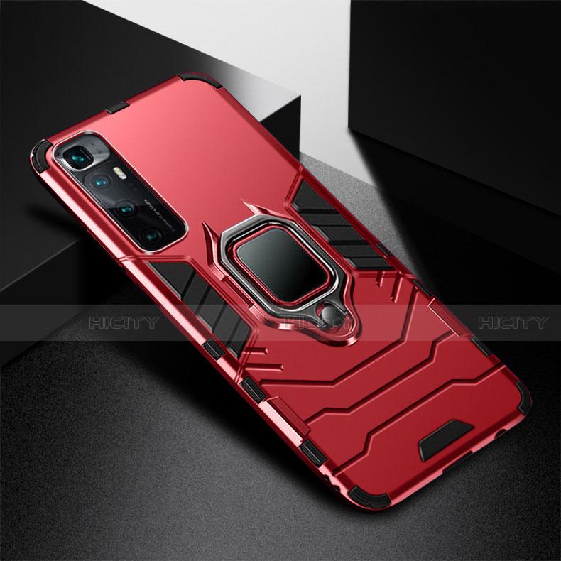 Silikon Hülle Handyhülle und Kunststoff Schutzhülle Hartschalen Tasche mit Magnetisch Fingerring Ständer S01 für Xiaomi Mi 10 Ultra Rot Plus