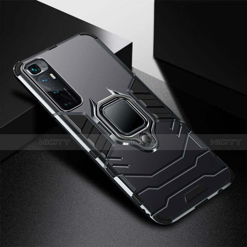 Silikon Hülle Handyhülle und Kunststoff Schutzhülle Hartschalen Tasche mit Magnetisch Fingerring Ständer S01 für Xiaomi Mi 10 Ultra Schwarz Plus