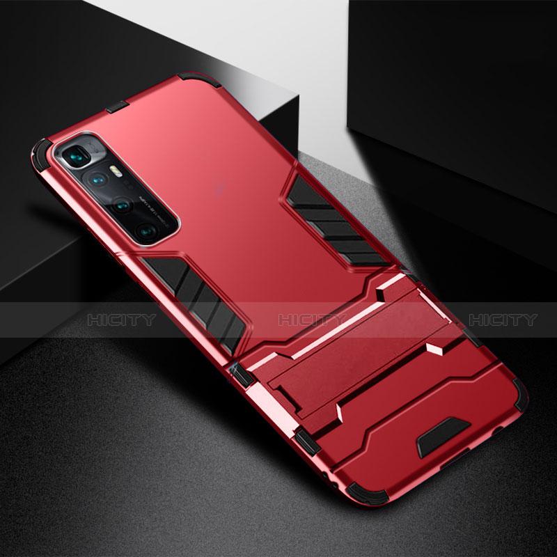 Silikon Hülle Handyhülle und Kunststoff Schutzhülle Hartschalen Tasche mit Ständer A01 für Xiaomi Mi 10 Ultra groß