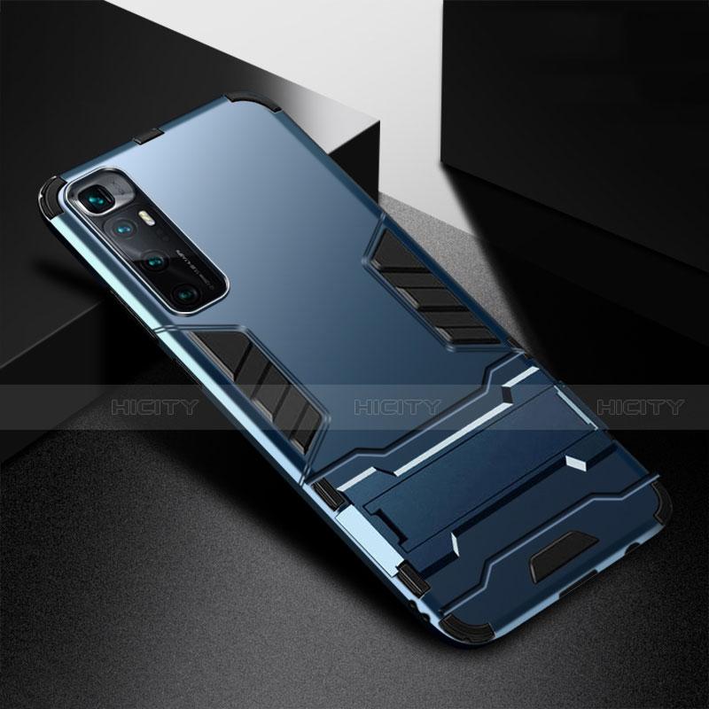 Silikon Hülle Handyhülle und Kunststoff Schutzhülle Hartschalen Tasche mit Ständer A01 für Xiaomi Mi 10 Ultra Blau Plus