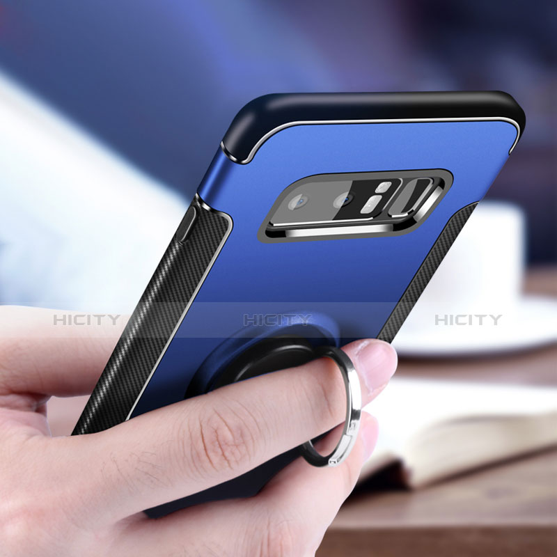 Silikon Hülle Handyhülle und Kunststoff Schutzhülle mit Fingerring Ständer A01 für Samsung Galaxy Note 8 Blau groß