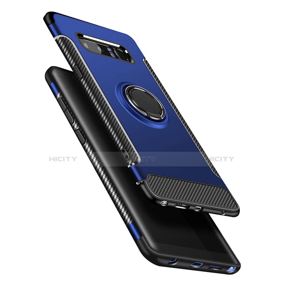 Silikon Hülle Handyhülle und Kunststoff Schutzhülle mit Fingerring Ständer A01 für Samsung Galaxy Note 8 Duos N950F Blau Plus