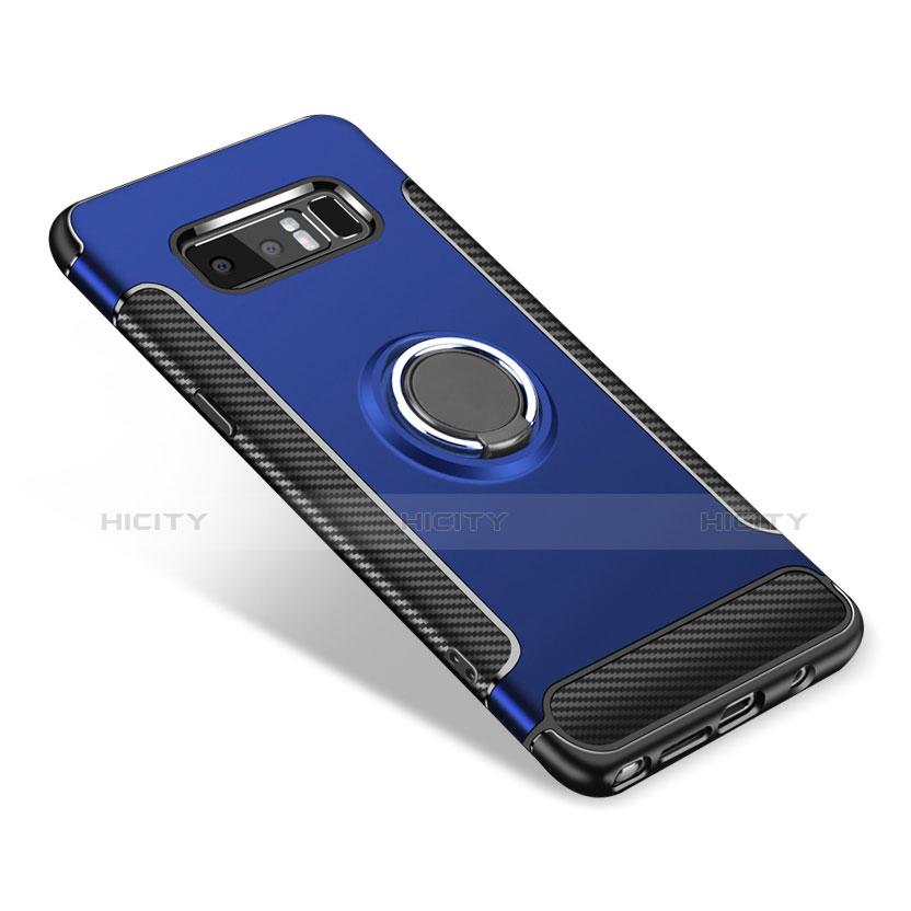 Silikon Hülle Handyhülle und Kunststoff Schutzhülle mit Fingerring Ständer A01 für Samsung Galaxy Note 8 Duos N950F Blau groß