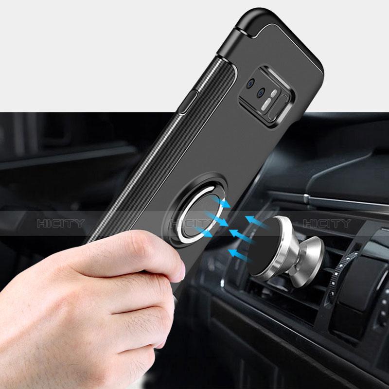Silikon Hülle Handyhülle und Kunststoff Schutzhülle mit Fingerring Ständer A01 für Samsung Galaxy Note 8 Schwarz groß