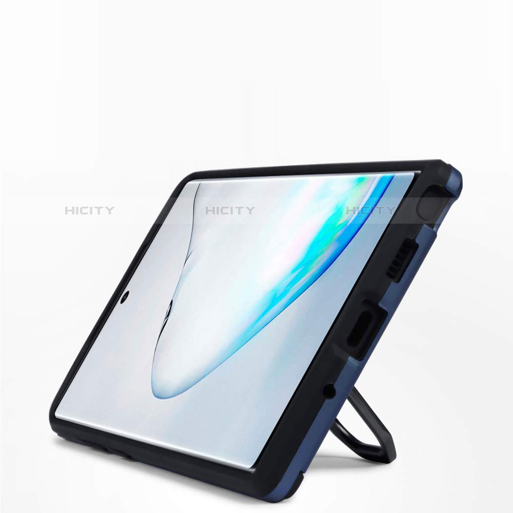 Silikon Hülle Handyhülle und Kunststoff Schutzhülle Tasche mit Magnetisch Ständer A03 für Samsung Galaxy Note 10 Plus 5G groß