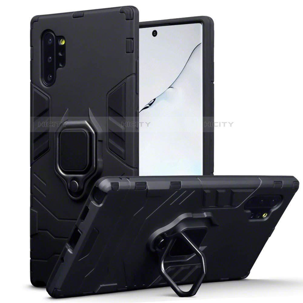Silikon Hülle Handyhülle und Kunststoff Schutzhülle Tasche mit Magnetisch Ständer A03 für Samsung Galaxy Note 10 Plus 5G Schwarz Plus