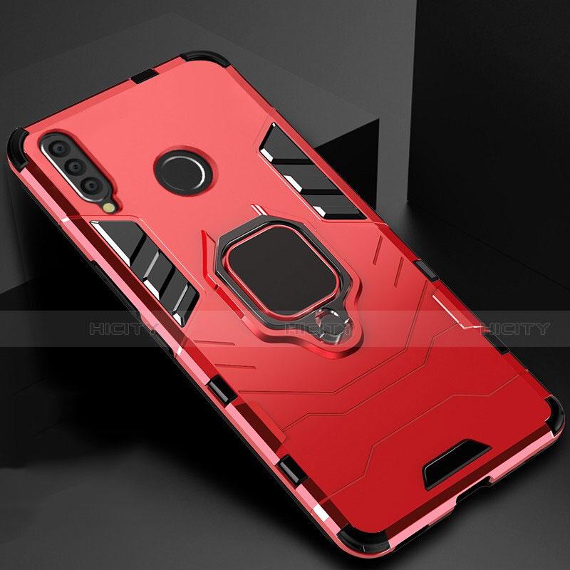 Silikon Hülle Handyhülle und Kunststoff Schutzhülle Tasche mit Magnetisch Ständer für Huawei Honor 20 Lite Rot Plus