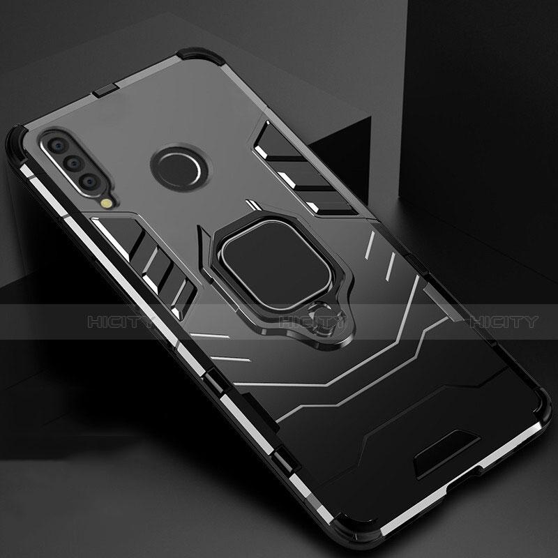 Silikon Hülle Handyhülle und Kunststoff Schutzhülle Tasche mit Magnetisch Ständer für Huawei Honor 20 Lite Schwarz Plus
