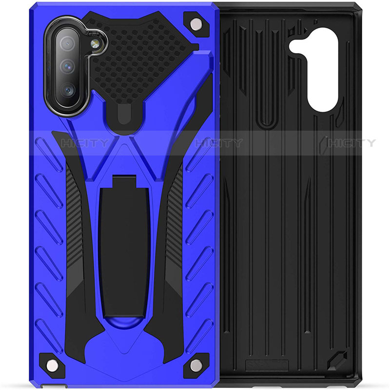 Silikon Hülle Handyhülle und Kunststoff Schutzhülle Tasche mit Ständer A01 für Samsung Galaxy Note 10 5G groß