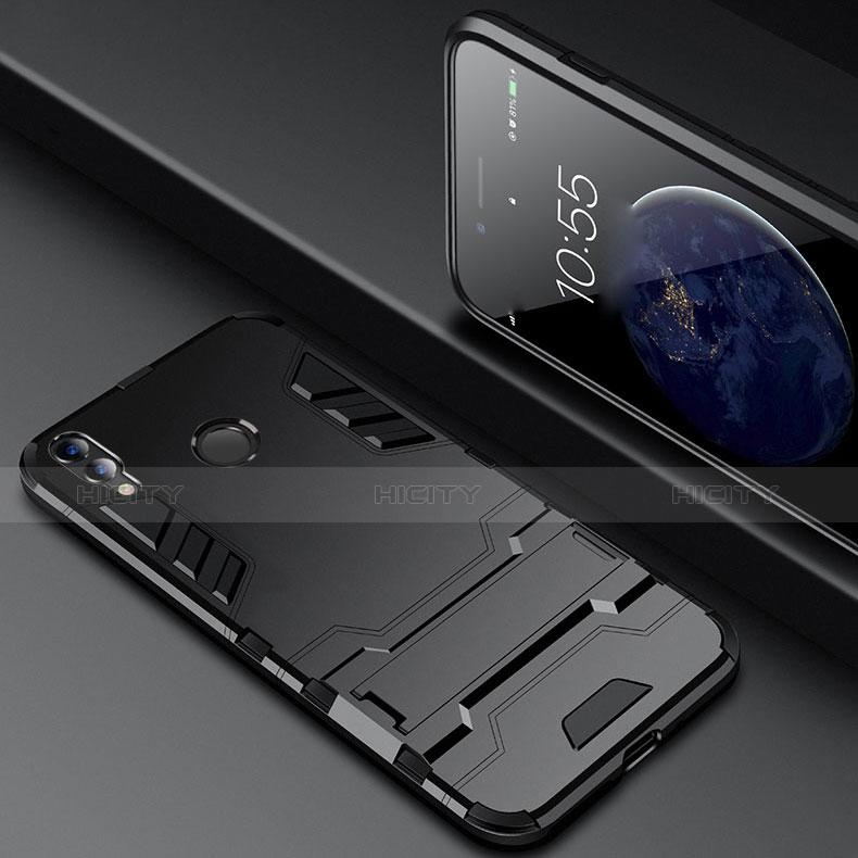 Silikon Hülle Handyhülle und Kunststoff Schutzhülle Tasche mit Ständer für Huawei Enjoy 9 Plus groß