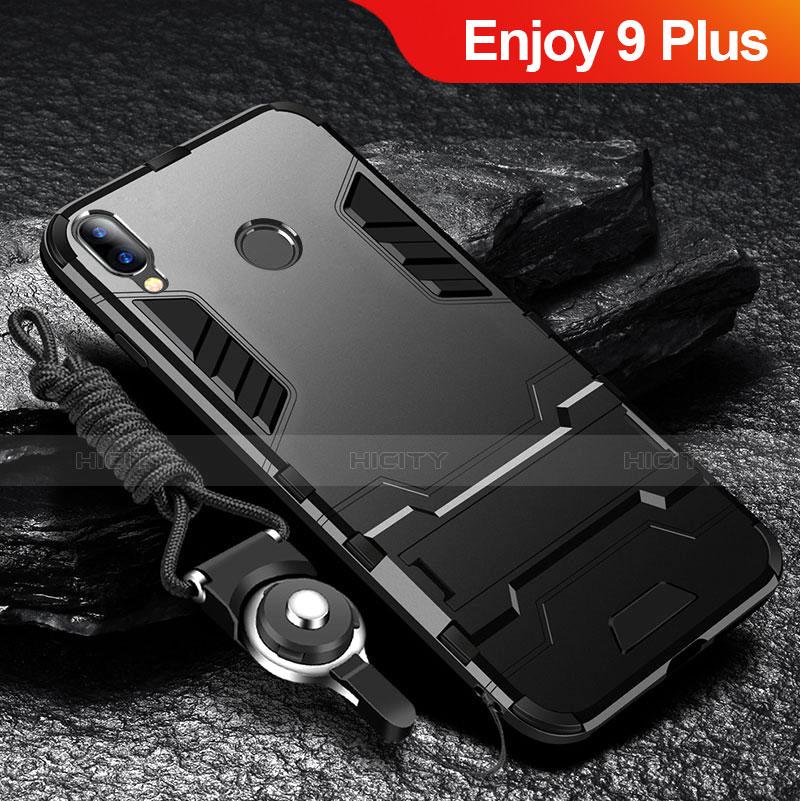 Silikon Hülle Handyhülle und Kunststoff Schutzhülle Tasche mit Ständer für Huawei Enjoy 9 Plus Schwarz Plus