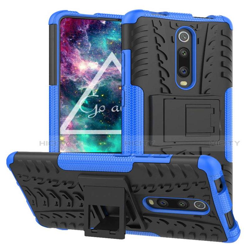 Silikon Hülle Handyhülle und Kunststoff Schutzhülle Tasche mit Ständer R01 für Xiaomi Mi 9T Pro groß