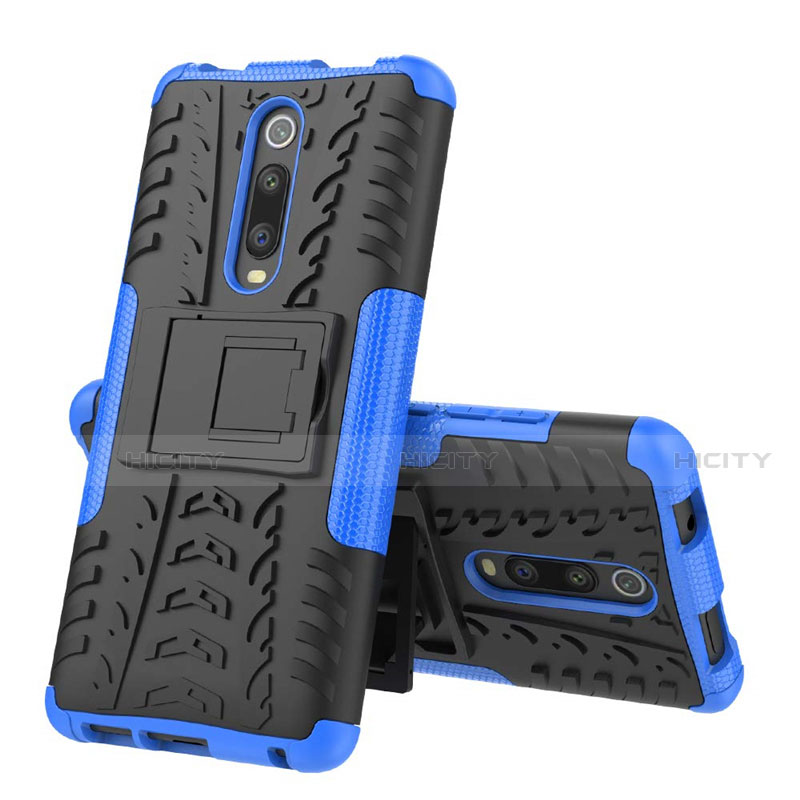 Silikon Hülle Handyhülle und Kunststoff Schutzhülle Tasche mit Ständer R01 für Xiaomi Mi 9T Pro Blau Plus