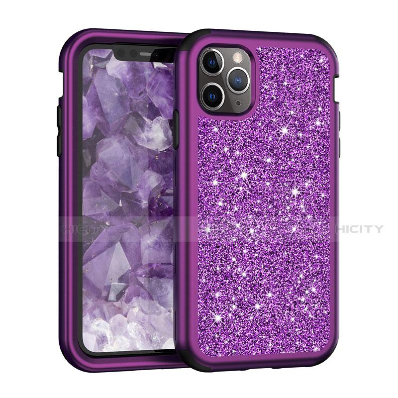 Silikon Hülle Handyhülle und Kunststoff Schutzhülle Tasche Vorder und Rückseite 360 Grad Bling-Bling für Apple iPhone 11 Pro Max Violett Plus