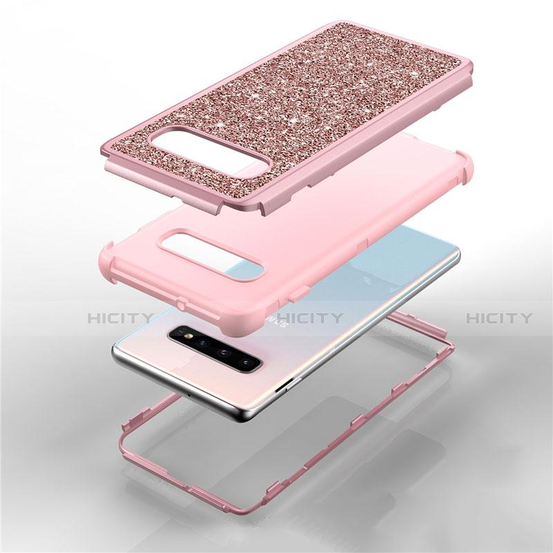 Silikon Hülle Handyhülle und Kunststoff Schutzhülle Tasche Vorder und Rückseite 360 Grad Bling-Bling für Samsung Galaxy S10 Plus groß