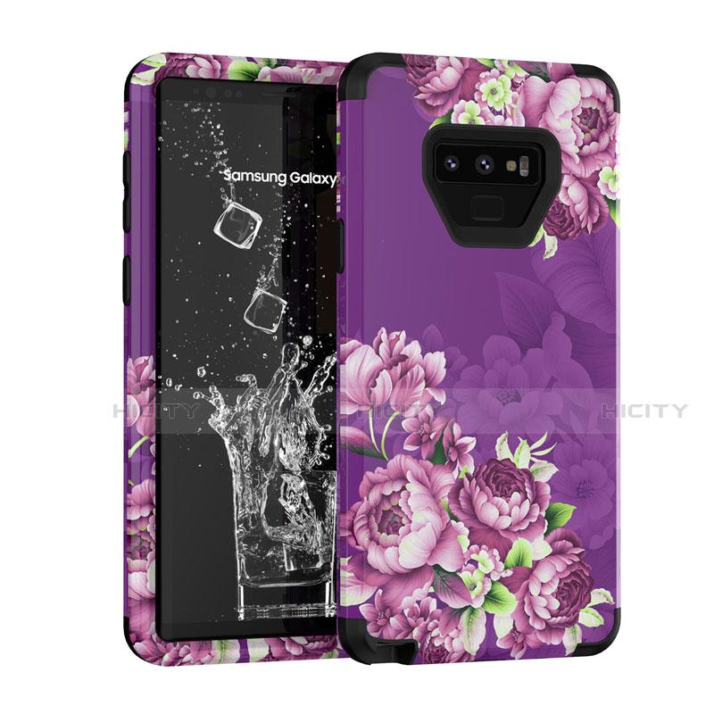 Silikon Hülle Handyhülle und Kunststoff Schutzhülle Tasche Vorder und Rückseite 360 Grad U01 für Samsung Galaxy Note 9 Violett Plus