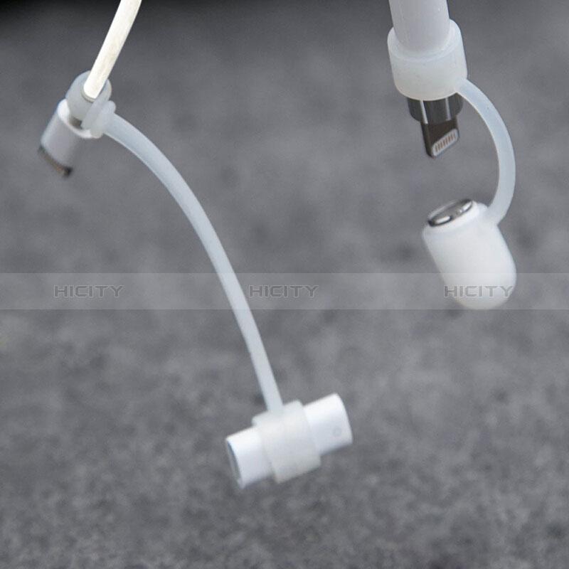 Silikon Kappenhalter Kabeladapter Tether-Kits Anti-Verloren für Apple Pencil Weiß groß