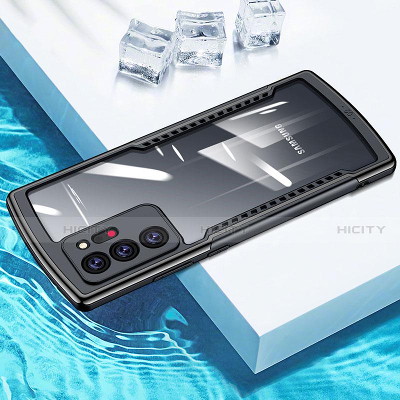Silikon Schutzhülle Rahmen Tasche Hülle Durchsichtig Transparent Spiegel M04 für Samsung Galaxy Note 20 Ultra 5G Schwarz Plus