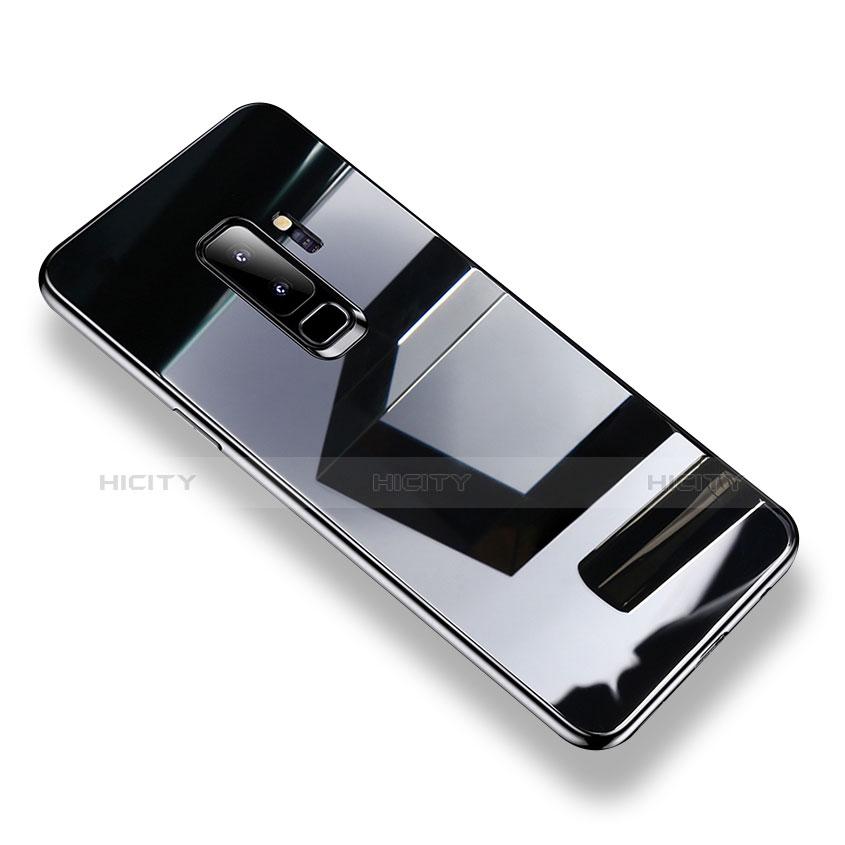 Silikon Schutzhülle Rahmen Tasche Hülle Durchsichtig Transparent Spiegel S01 für Samsung Galaxy S9 Plus Schwarz Plus