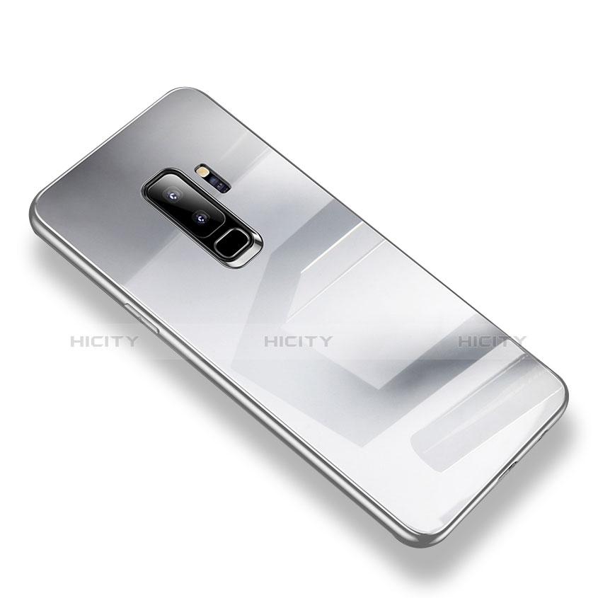 Silikon Schutzhülle Rahmen Tasche Hülle Durchsichtig Transparent Spiegel S01 für Samsung Galaxy S9 Plus Silber Plus
