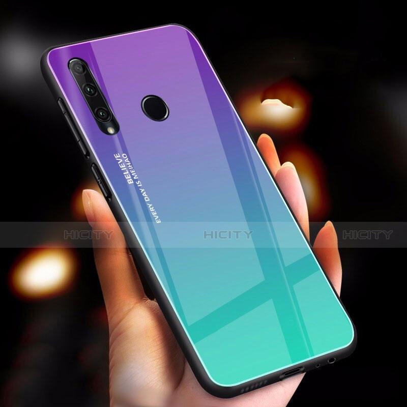 Silikon Schutzhülle Rahmen Tasche Hülle Spiegel Farbverlauf Regenbogen für Huawei Honor 20 Lite Cyan Plus