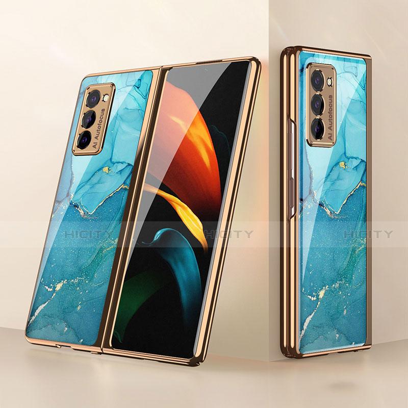 Silikon Schutzhülle Rahmen Tasche Hülle Spiegel für Samsung Galaxy Z Fold2 5G Cyan Plus
