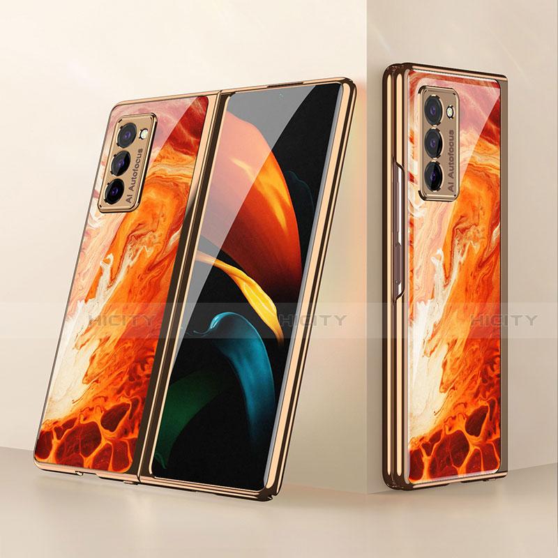 Silikon Schutzhülle Rahmen Tasche Hülle Spiegel für Samsung Galaxy Z Fold2 5G Orange Plus