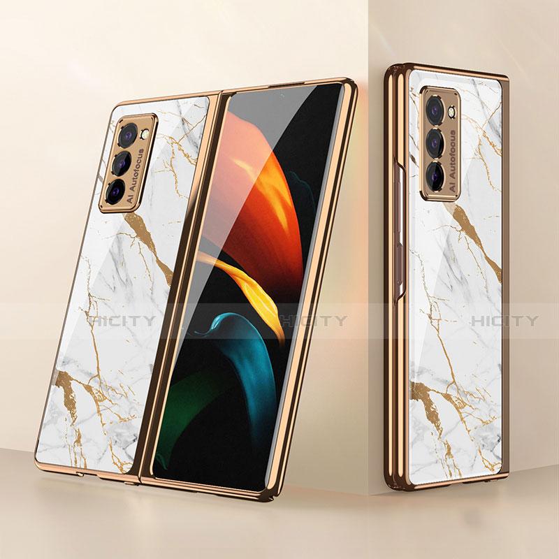 Silikon Schutzhülle Rahmen Tasche Hülle Spiegel für Samsung Galaxy Z Fold2 5G Weiß Plus